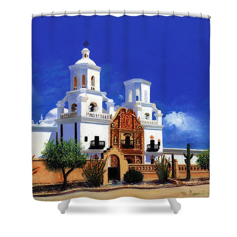 San Shower Curtain featuring the painting San Xavier Del Bac Mission by M Diane Bonaparte