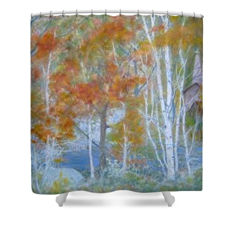 Church; Landscape; Birch Trees Shower Curtain featuring the painting Sanctuary by Ben Kiger