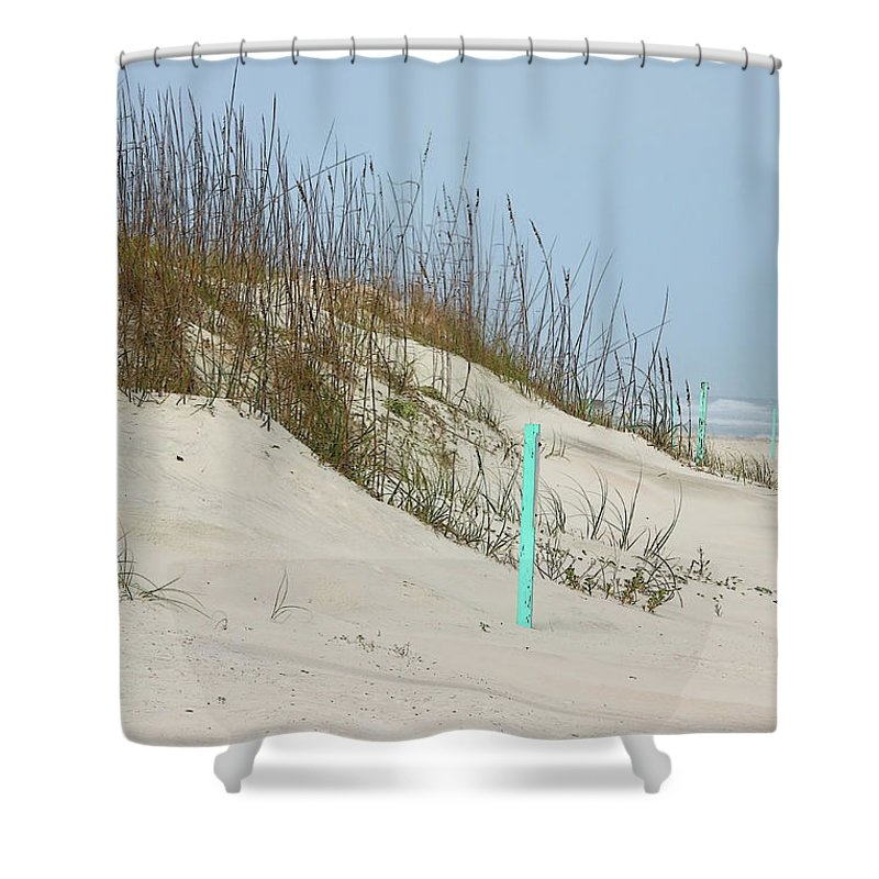 Beach Sand Shower Curtain featuring the photograph Sand And Grass by Deborah Benoit
