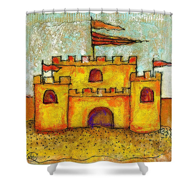 Castle Shower Curtain featuring the drawing Sand Castle by Mary Hanrahan