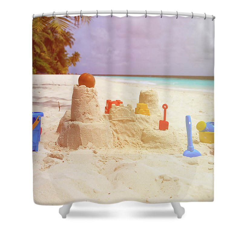 Toys Shower Curtain Featuring The Photograph Sand Castle On Beach And Kids By NadyaEugene Photography