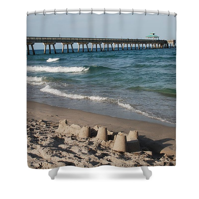 Sea Scape Shower Curtain featuring the photograph Sand Castles And Piers by Rob Hans