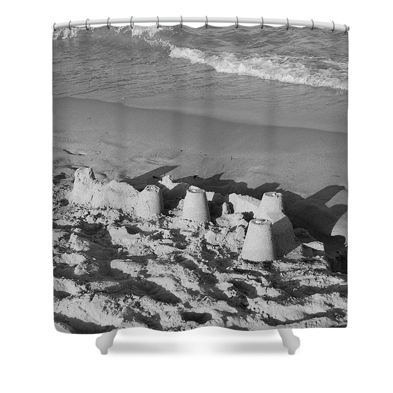 Sea Scape Shower Curtain featuring the photograph Sand Castles By The Shore by Rob Hans