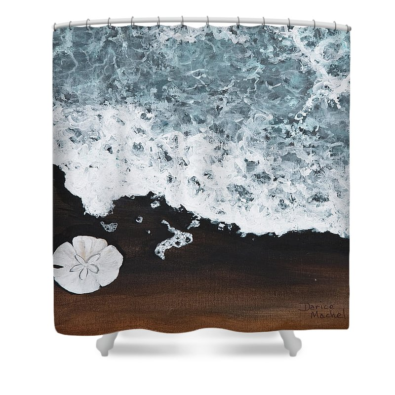 Darice Machel Mcguire Shower Curtain featuring the painting Sand Dollar by Darice Machel McGuire