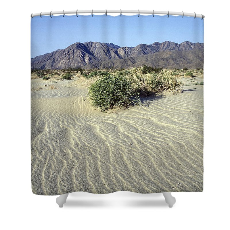 Desolate Landscapes Shower Curtain featuring the photograph Sand Dunes & San Ysidro Mountains At El by Rich Reid