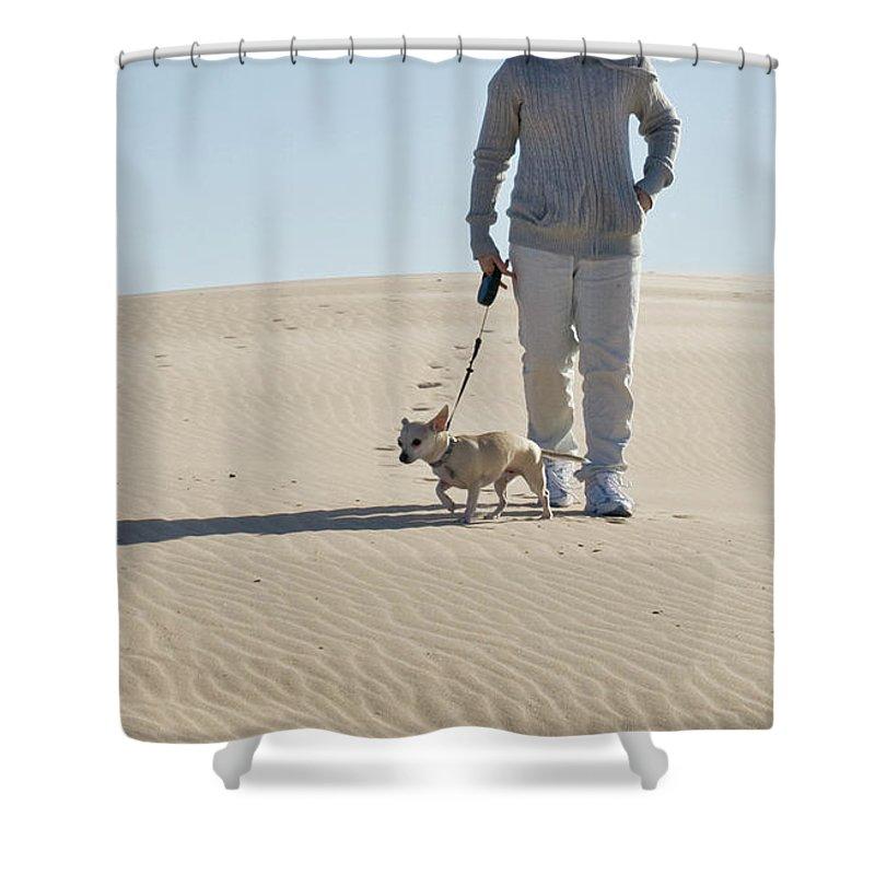 Sand Shower Curtain featuring the photograph Sand Walk by Tara Lynn