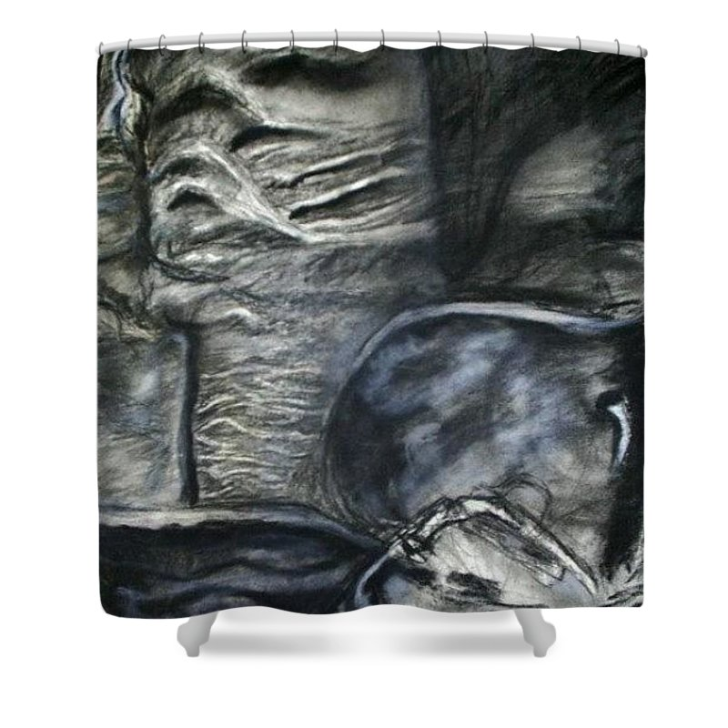 Visual Music Abstract Drawing; Abstract Art; Graphite; Rock Music; Sandal Shower Curtain featuring the drawing Sandal 2 by Arlene Rabinowitz