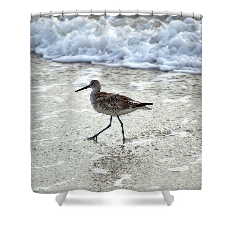 Sandpiper Shower Curtain featuring the photograph Sandpiper Escaping The Waves by Kenneth Albin