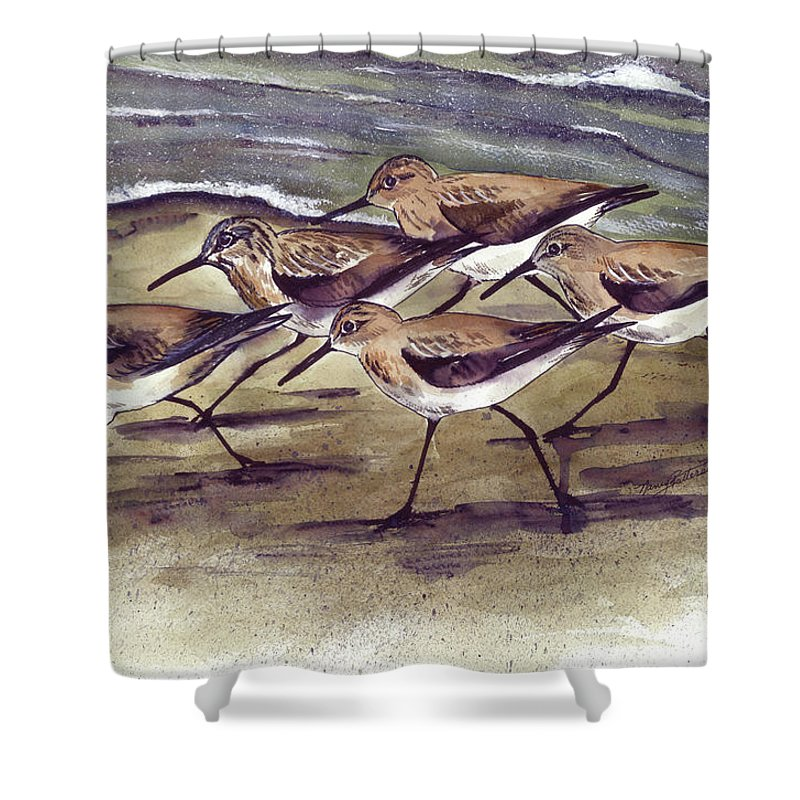 Watercolor Shower Curtain featuring the painting Sandpipers by Nancy Patterson