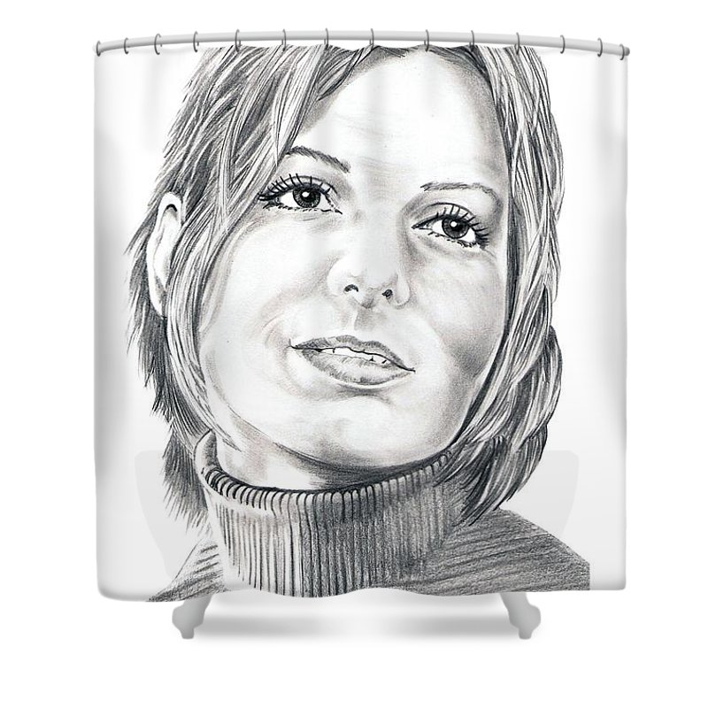 Drawing Shower Curtain featuring the drawing Sandra Bullock by Murphy Elliott