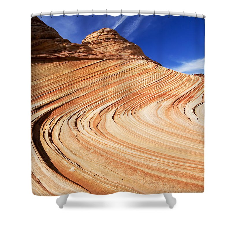 The Wave Shower Curtain featuring the photograph Sandstone Slide by Mike Dawson