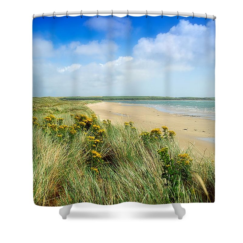Beach Shower Curtain featuring the photograph Sandunes At Fethard, Co Wexford, Ireland by The Irish Image Collection