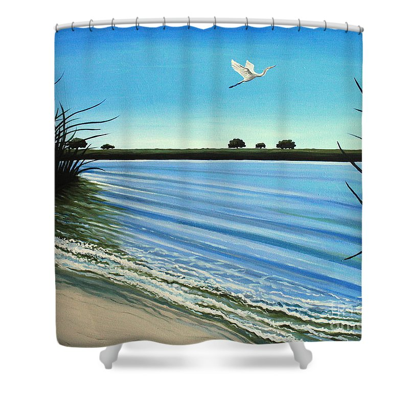 Beach Shower Curtain featuring the painting Sandy Beach by Elizabeth Robinette Tyndall