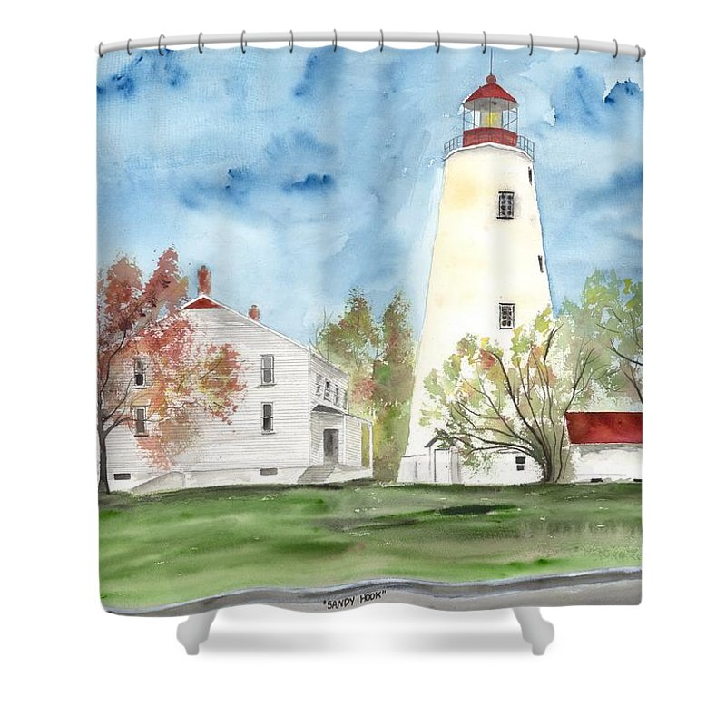 Watercolor Shower Curtain featuring the painting Sandy Hook Lighthouse by Derek Mccrea