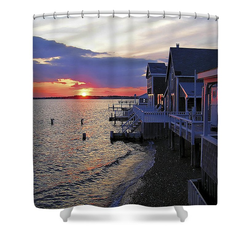 Sandy Neck Shower Curtain featuring the photograph Sandy Neck Sunset At The Cottages by Charles Harden