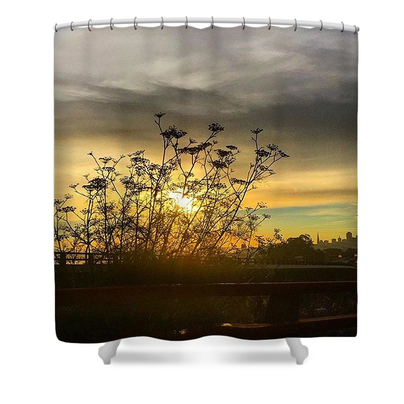 Sanfrancisco Shower Curtain Featuring The Photograph San Francisco Skyline At Sunrise By Eugene Evon