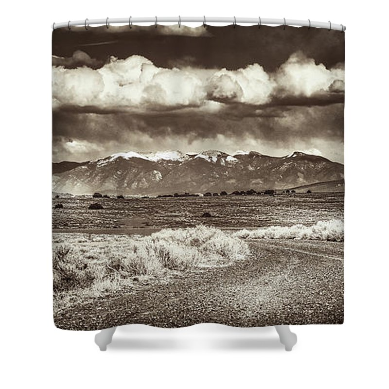 Taos Shower Curtain featuring the photograph Sangre De Cristo Mountains by Tony Lopez