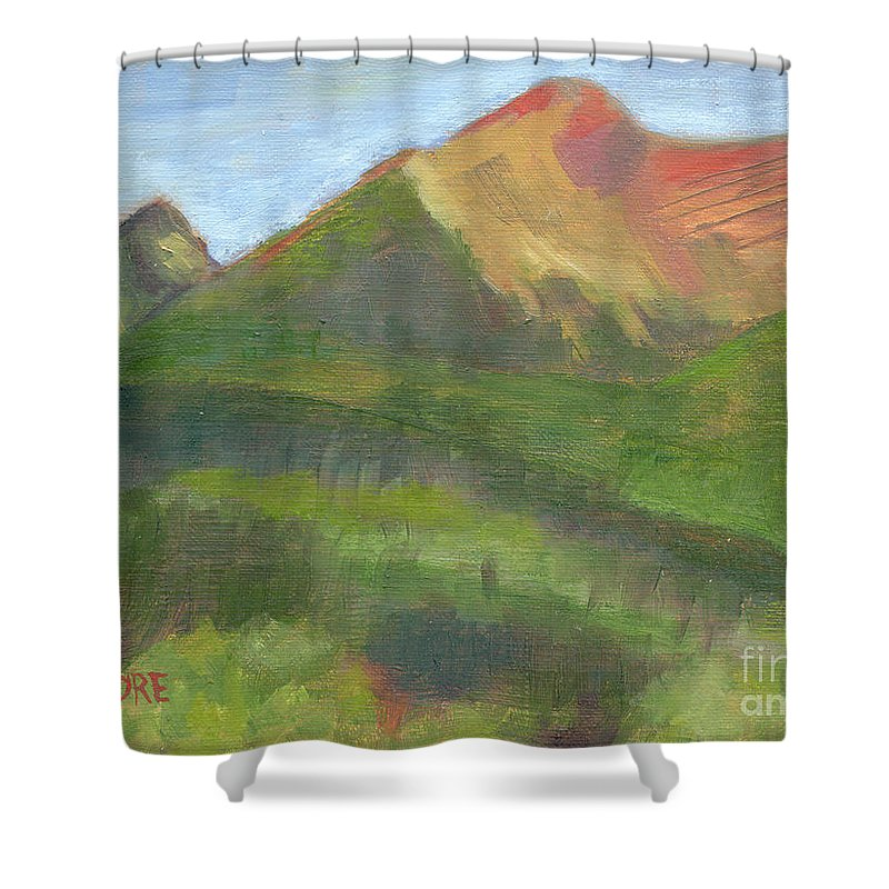 Colorado Shower Curtain featuring the painting Sangres II by Lilibeth Andre