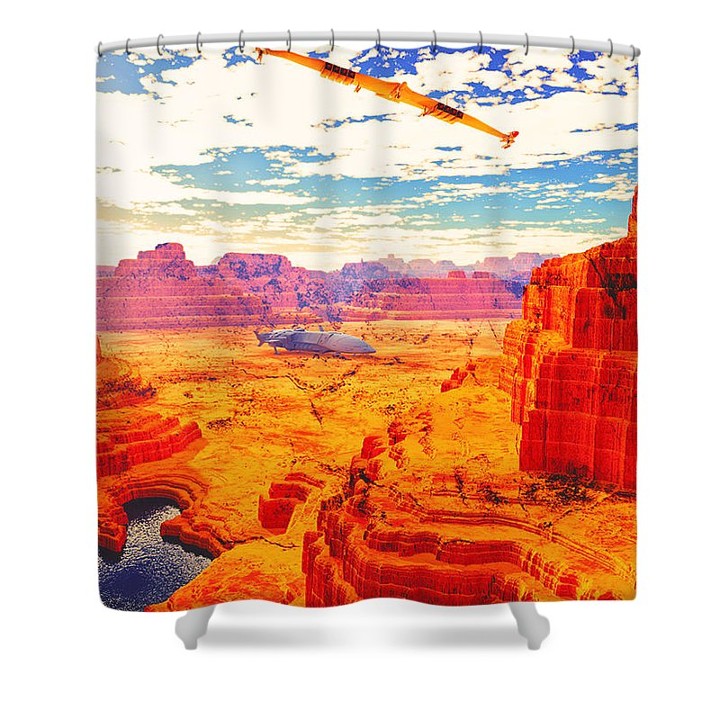 Terragen Shower Curtain featuring the digital art Sangry Valley by Napo Bonaparte