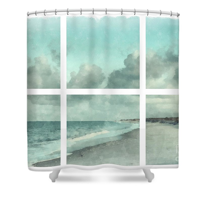 Sanibel Shower Curtain Featuring The Painting Island Bowman Beach Watercolor Grid By Edward Fielding