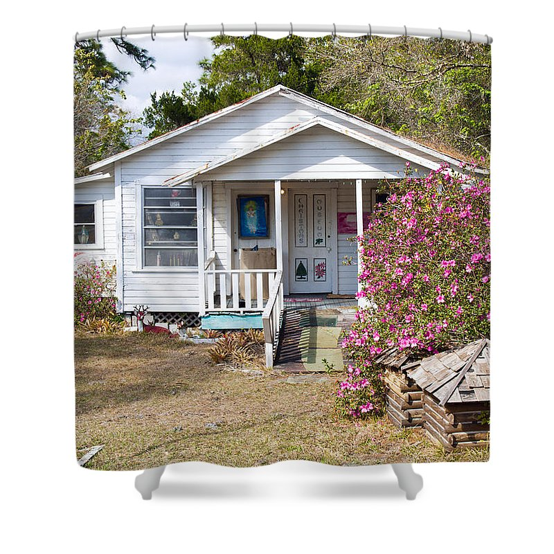Cabin Shower Curtain featuring the photograph Santa And Mrs Claus Spend The Spring Months Relaxing by Allan Hughes