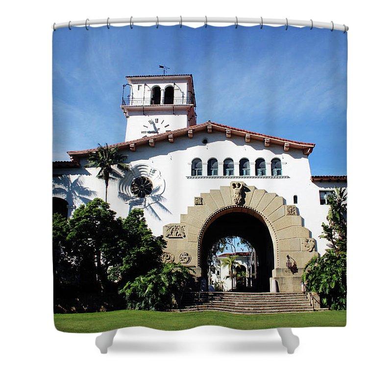 Santa Barbara Shower Curtain featuring the mixed media Santa Barbara Courthouse -by Linda Woods by Linda Woods