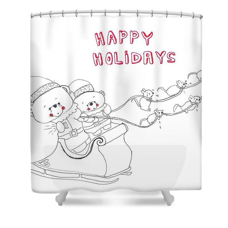 Funny Christmas Shower Curtain featuring the drawing Santa Bear by Melanie Sastria