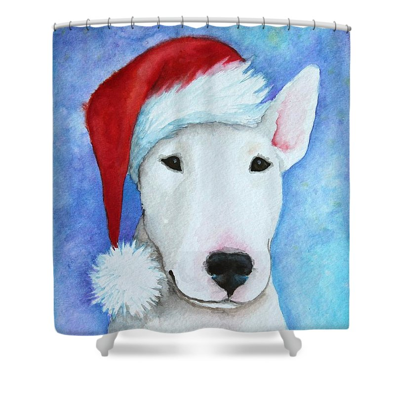 Noewi Shower Curtain featuring the painting Santa Bully by Jindra Noewi