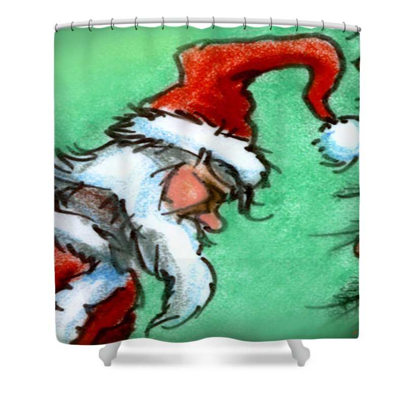 Santa Shower Curtain featuring the painting Santa Claus by Kevin Middleton