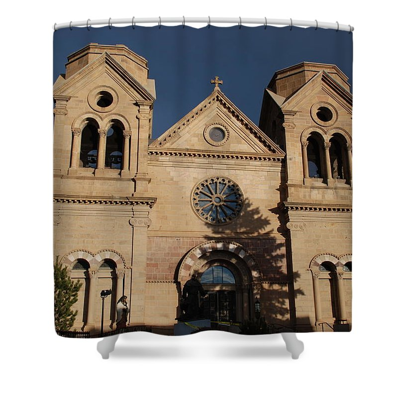 Architecture Shower Curtain featuring the photograph Santa Fe Church by Rob Hans