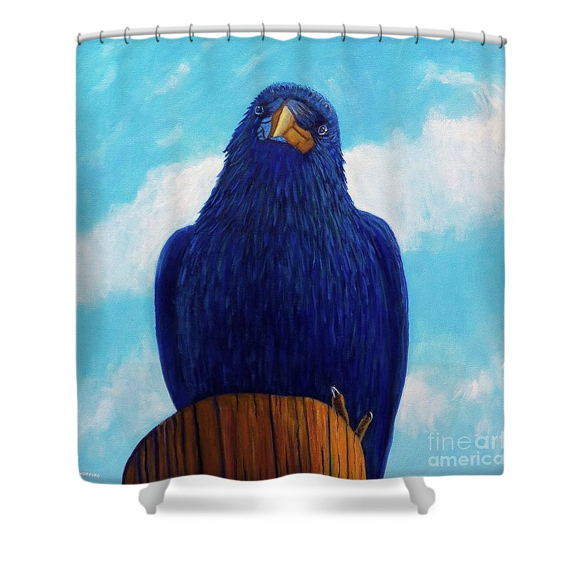Raven Shower Curtain featuring the painting Santa Fe Smile by Brian Commerford