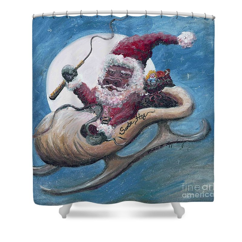 Christmas Shower Curtain featuring the painting Santa Hog by Nadine Rippelmeyer