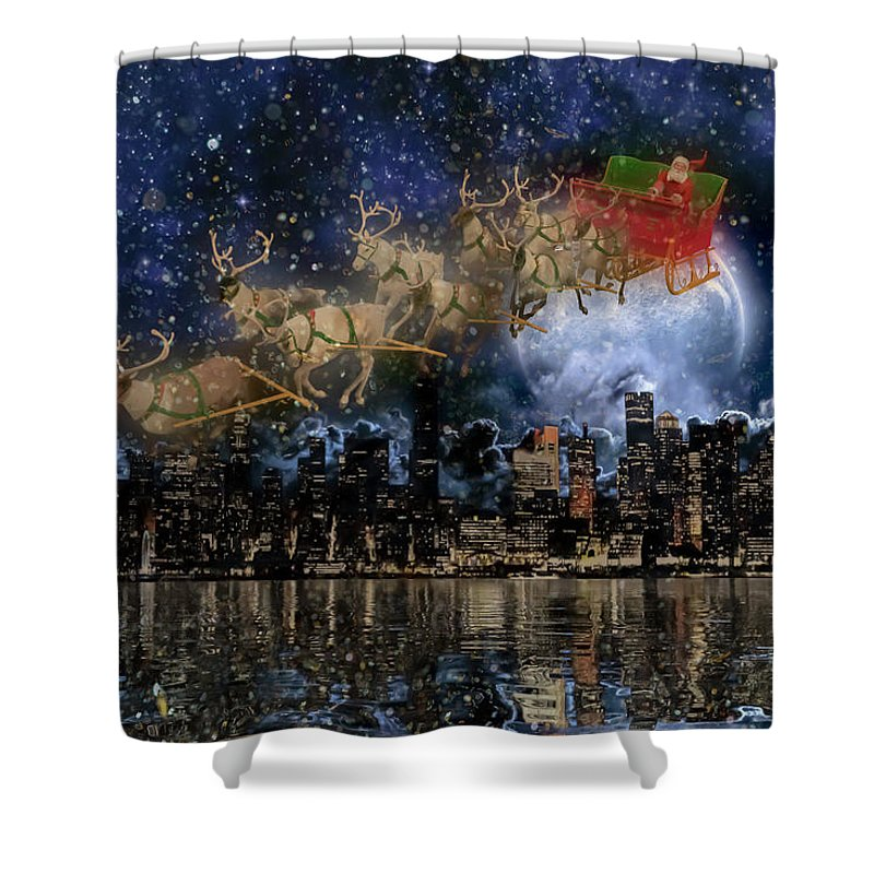 New Shower Curtain featuring the digital art Santa In The City by Betsy Knapp