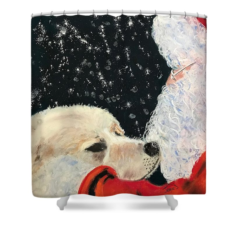 Santa Shower Curtain featuring the painting Santa Loves Dogs by Joyce Spencer