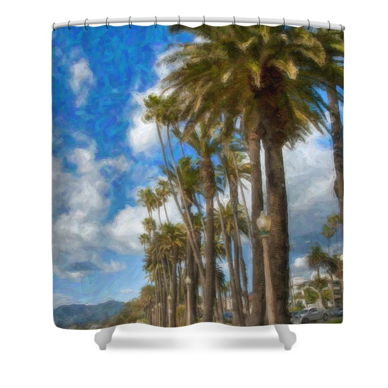 Santa Monica Ca Palisades Park Bluffs Shower Curtain featuring the photograph Santa Monica Ca Palisades Park Bluffs by David Zanzinger