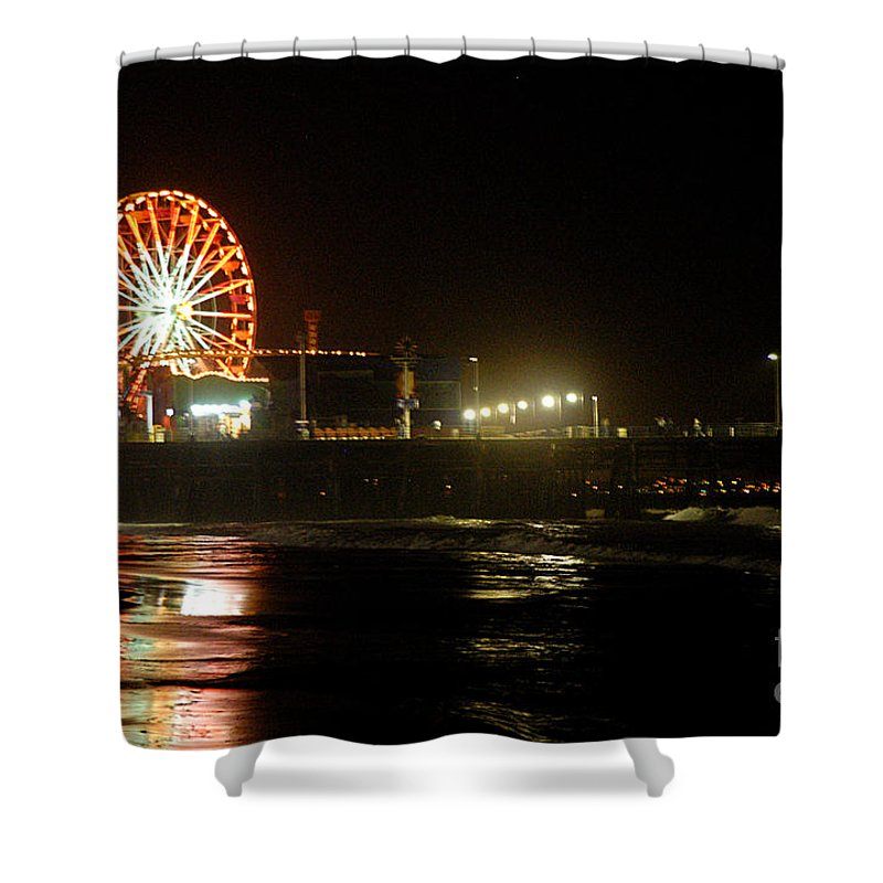 Clay Shower Curtain featuring the photograph Santa Monica Pier by Clayton Bruster