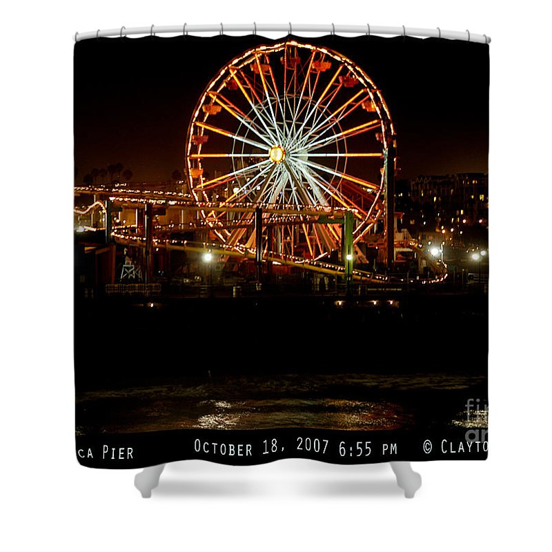 Clay Shower Curtain featuring the photograph Santa Monica Pier October 18 2007 by Clayton Bruster