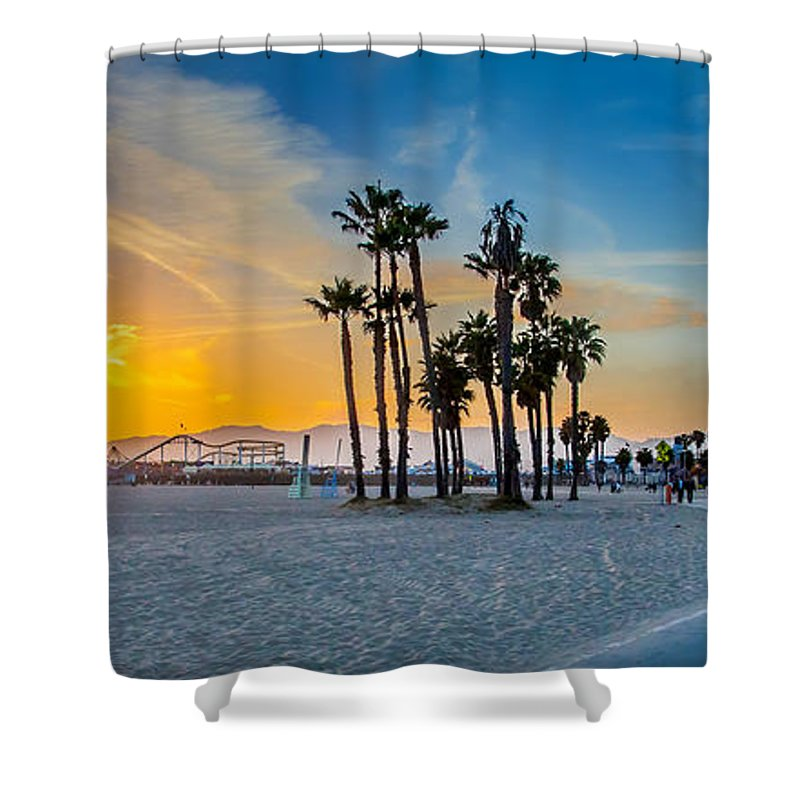 Los Angeles Shower Curtain featuring the photograph Santa Monica Sunset by Az Jackson