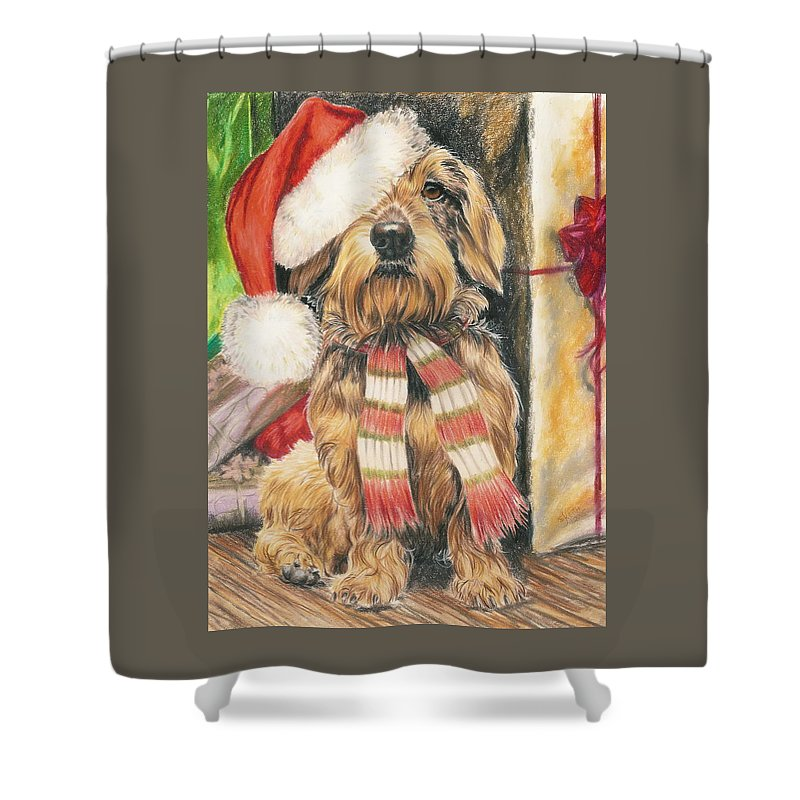 Hound Group Shower Curtain featuring the drawing Santas Little Yelper by Barbara Keith