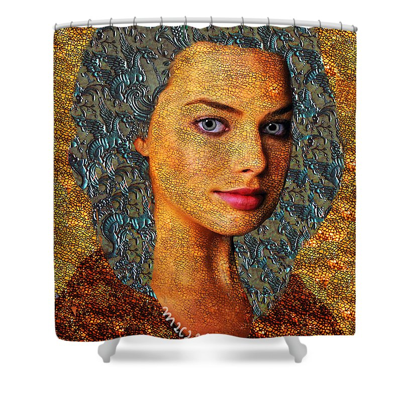 Goddess Shower Curtain featuring the painting Santia Gold And Silver by Maciej Mackiewicz