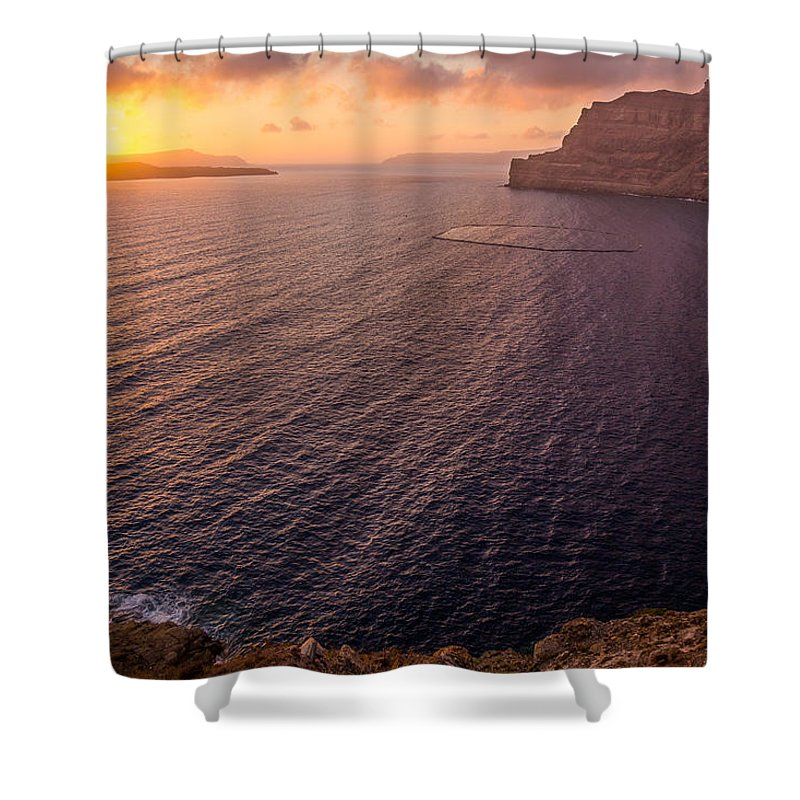 Island Shower Curtain featuring the photograph Santorini Caldera Sunset by BBrave Photo