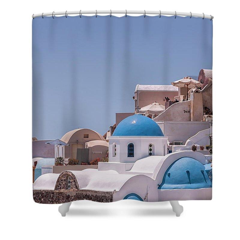 Greece Shower Curtain featuring the photograph Santorini Church In Oia by Antony McAulay