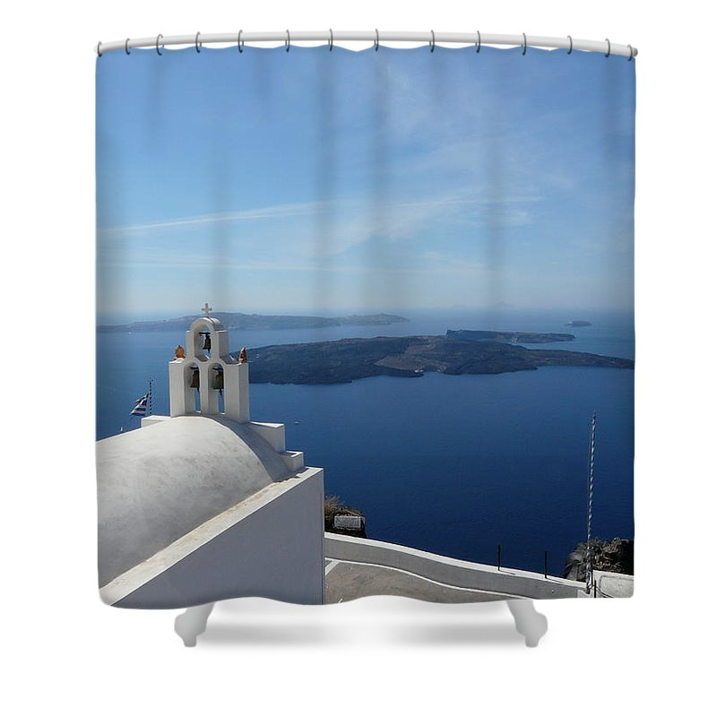 Landscape Shower Curtain featuring the photograph Santorini Greece by Valerie Ornstein