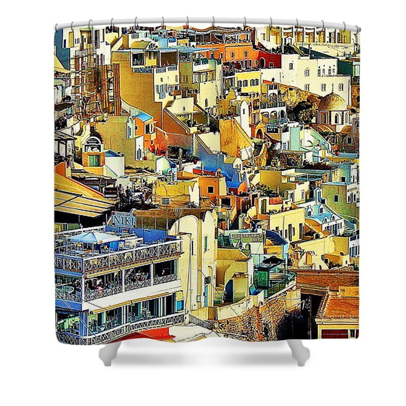 Santorini Greece Shower Curtain featuring the photograph Santorini by Onie Dimaano