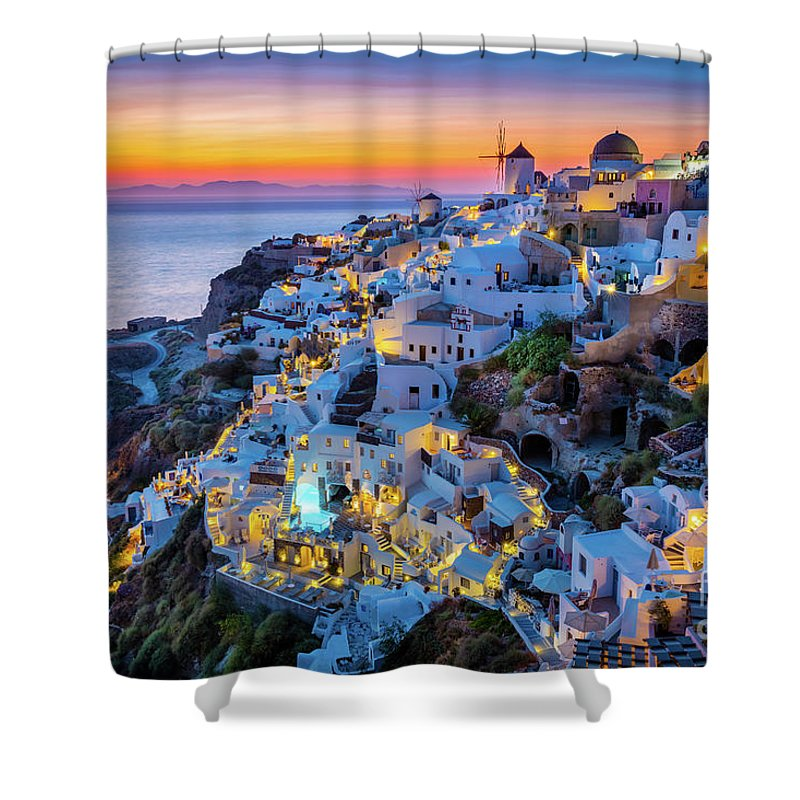 Aegean Sea Shower Curtain featuring the photograph Santorini Sunset by Inge Johnsson