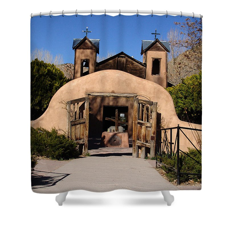 Church Shower Curtain featuring the photograph Santuario De Chimayo Adobe Chapel by Carol Milisen