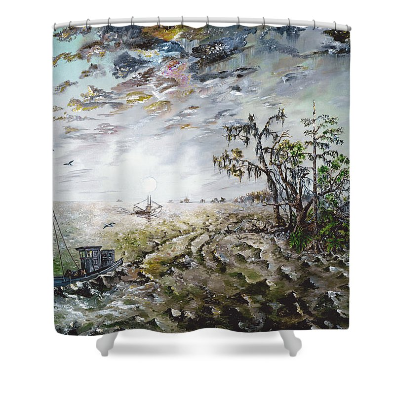 Lighthouse Shower Curtain featuring the painting Sapelo Island by Richard Barham