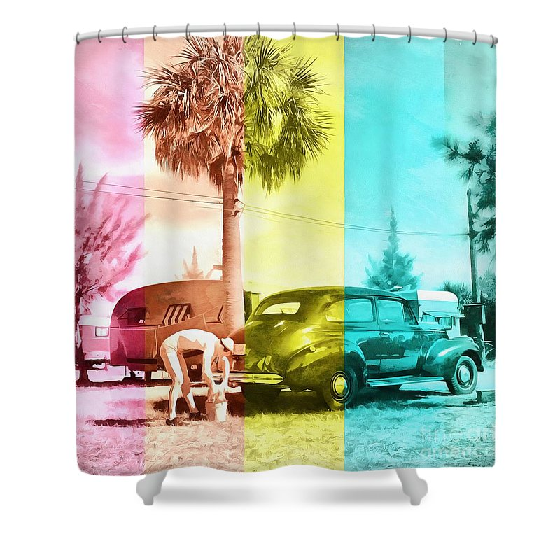 Florida Shower Curtain featuring the painting Sarasota Series Wash The Car by Edward Fielding