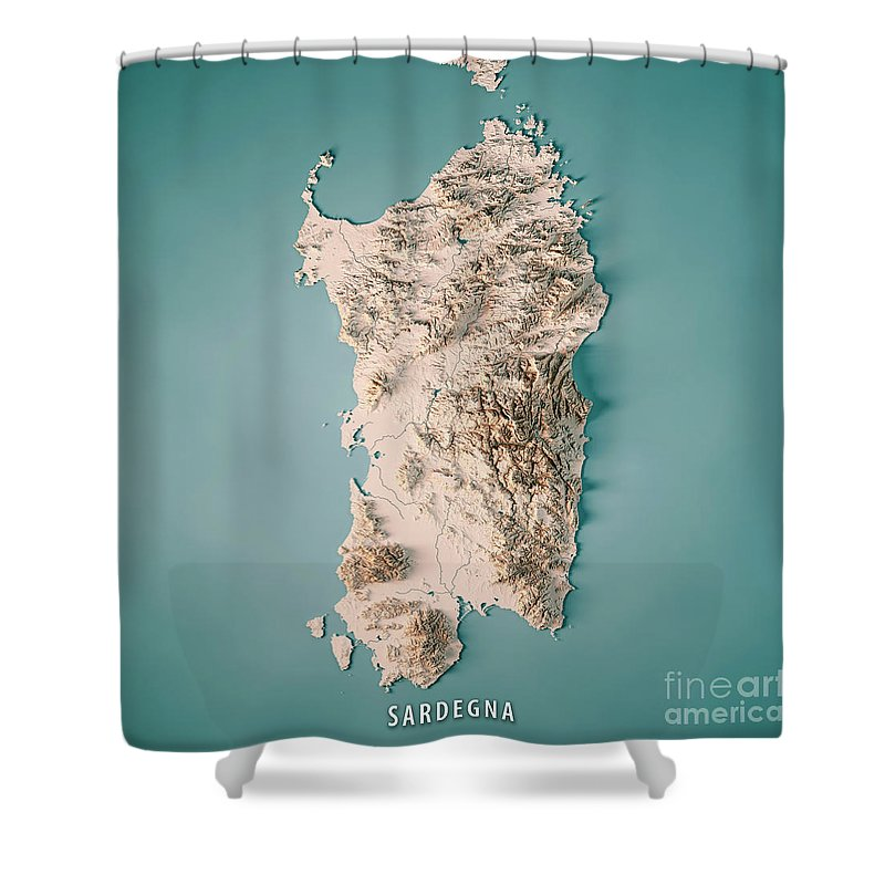 Sardinia Shower Curtain Featuring The Digital Art Island Italy 3d Render Topographic Map Neutral By