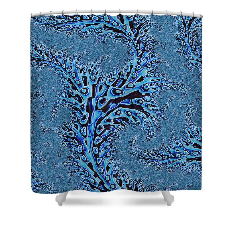 Seaweed Abstract Shower Curtain featuring the digital art Sargasso by John Edwards
